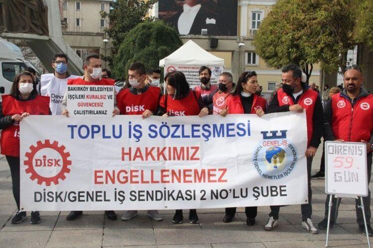 İşlerine dönmek için direnen Bakırköy Belediyesi işçileri: Güvencesiz çalışmak istemiyoruz